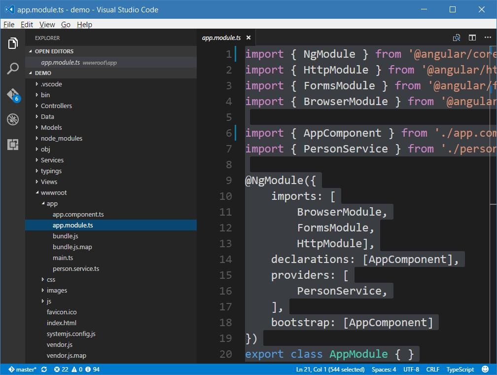 ASP NET Core and Angular 2 Using CLI and Visual Studio Code
