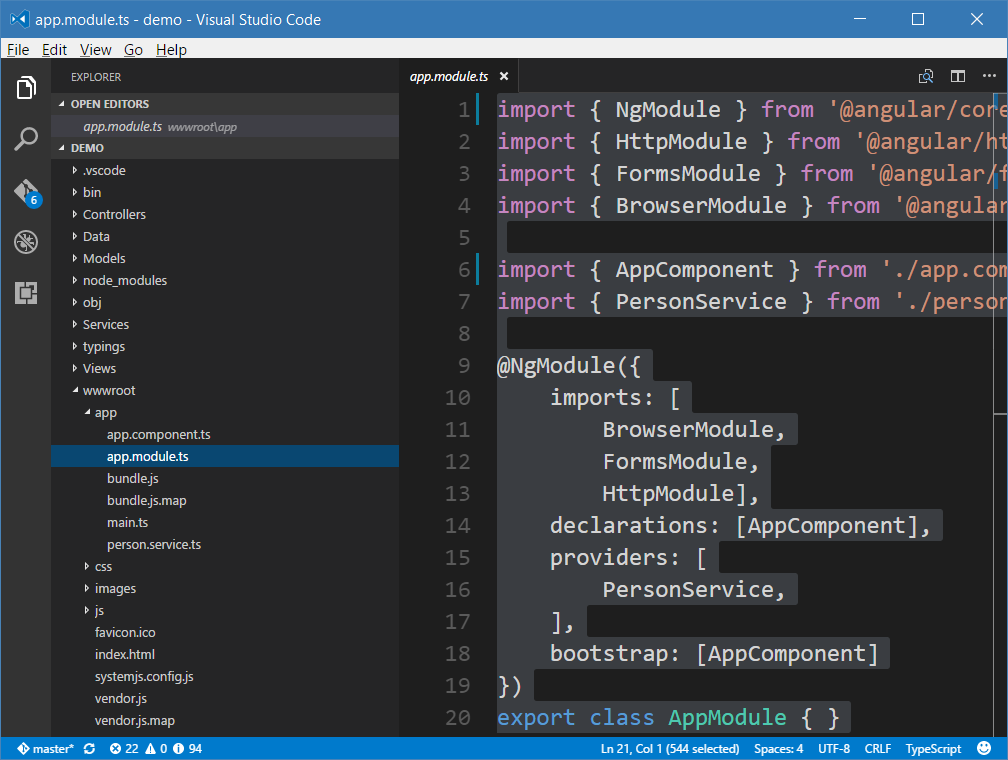 ASP  NET Core and Angular2 using dotnet CLI and Visual Studio Code