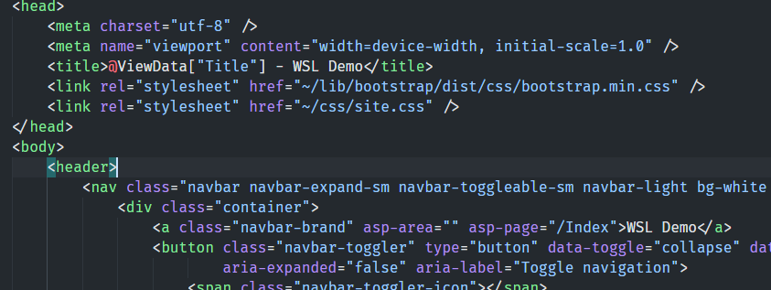 WSL Demo code